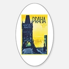 Prague Travel Poster 1 Sticker (Oval)