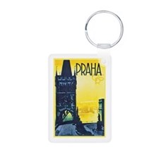 Prague Travel Poster 1 Keychains