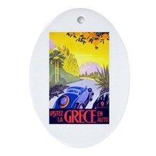 Greece Travel Poster 1 Ornament (Oval)