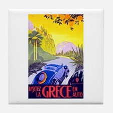 Greece Travel Poster 1 Tile Coaster