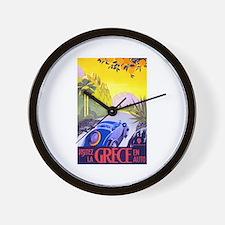 Greece Travel Poster 1 Wall Clock