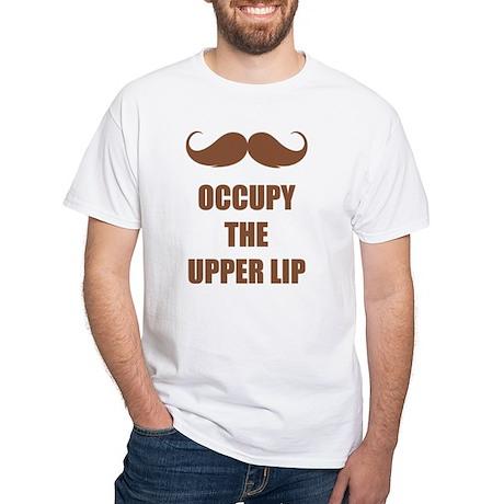 Occupy the upper lip White T-Shirt