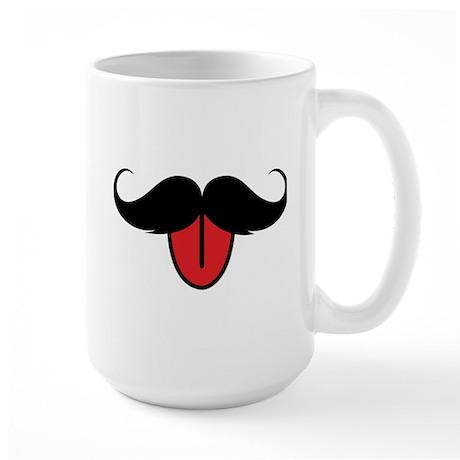 Funny moustache Large Mug