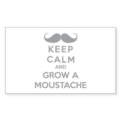 Keep calmd and grow a moustache Sticker (Rectangle