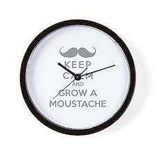 Keep calmd and grow a moustache Wall Clock