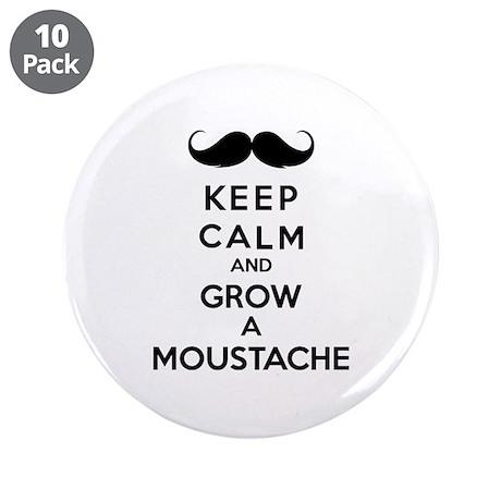 "Keep calmd and grow a moustache 3.5"" Button (10 pa"