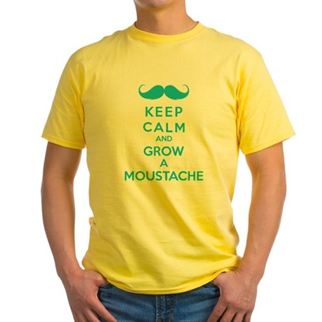Keep calmd and grow a moustache Yellow T-Shirt