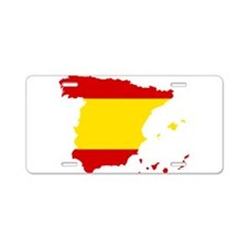 Spain Flag and Map Aluminum License Plate