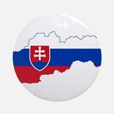 Slovakia Flag and Map Ornament (Round)