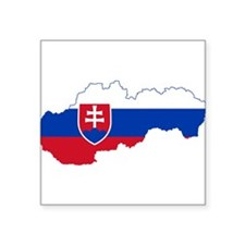 """Slovakia Flag and Map Square Sticker 3"""" x 3"""""""