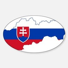 Slovakia Flag and Map Sticker (Oval)