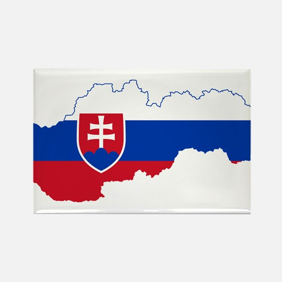 Slovakia Flag and Map Rectangle Magnet