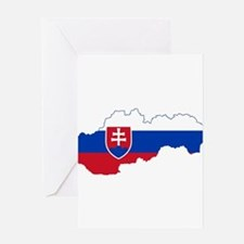 Slovakia Flag and Map Greeting Card
