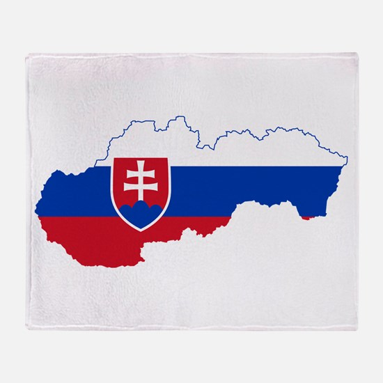 Slovakia Flag and Map Throw Blanket