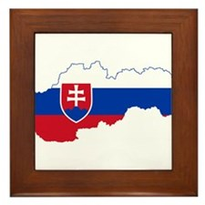 Slovakia Flag and Map Framed Tile
