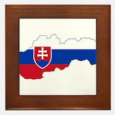 Slovakia Flag and Map Framed Tile
