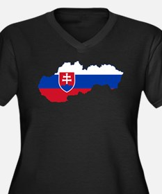 Slovakia Flag and Map Women's Plus Size V-Neck Dar