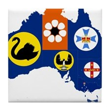 Australia States and Territories Flag and Map Tile