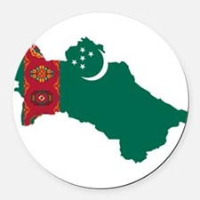 Turkmenistan Flag and Map Round Car Magnet