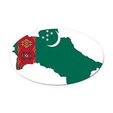 Turkmenistan Flag and Map Oval Car Magnet