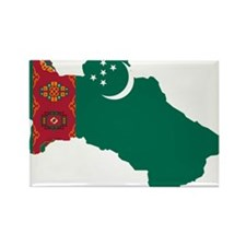 Turkmenistan Flag and Map Rectangle Magnet