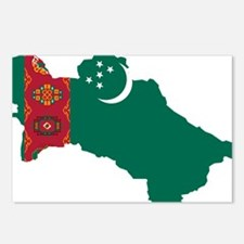 Turkmenistan Flag and Map Postcards (Package of 8)
