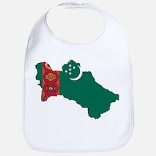 Turkmenistan Flag and Map Bib