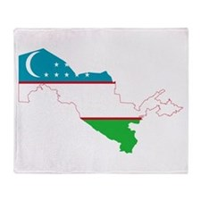 Uzbekistan Flag and Map Throw Blanket