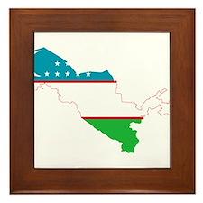 Uzbekistan Flag and Map Framed Tile