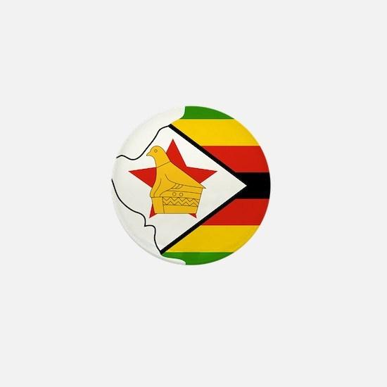 Zimbabwe Flag and Map Mini Button