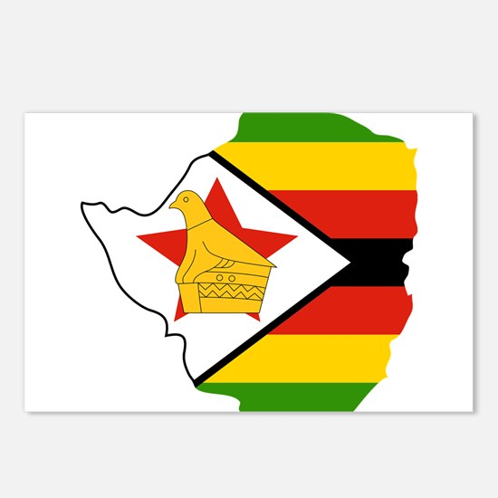 Zimbabwe Flag and Map Postcards (Package of 8)