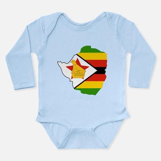 Zimbabwe Flag and Map Long Sleeve Infant Bodysuit