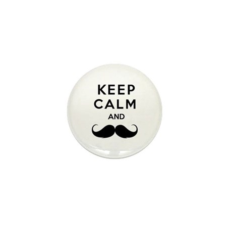 Keep calm and moustache Mini Button (10 pack)