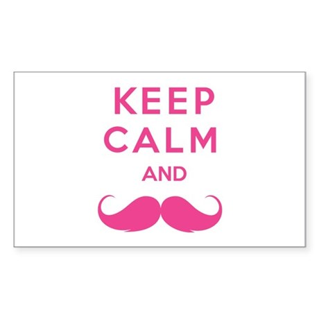 Keep calm and moustache Sticker (Rectangle)