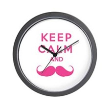 Keep calm and moustache Wall Clock