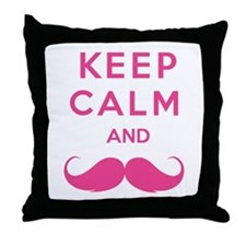 Keep calm and moustache Throw Pillow