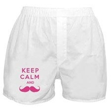 Keep calm and moustache Boxer Shorts