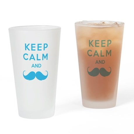 Keep calm and moustache Drinking Glass