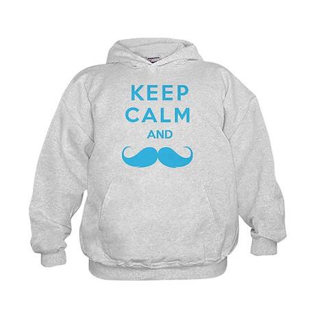 Keep calm and moustache Kids Hoodie