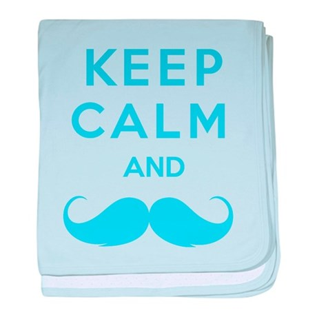 Keep calm and moustache baby blanket