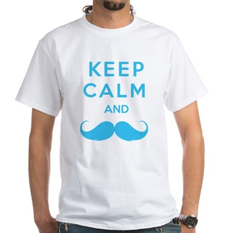 Keep calm and moustache White T-Shirt