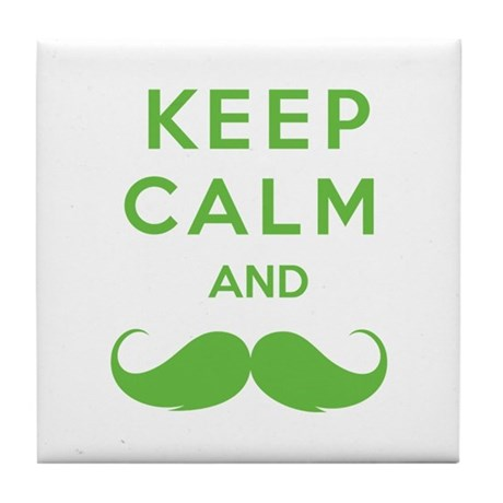 Keep calm and moustache Tile Coaster
