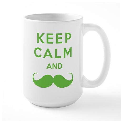 Keep calm and moustache Large Mug