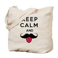 Funny keep calm and moustache Tote Bag