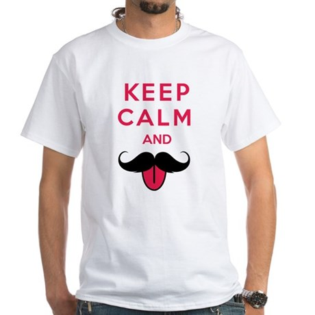 Funny keep calm and moustache White T-Shirt