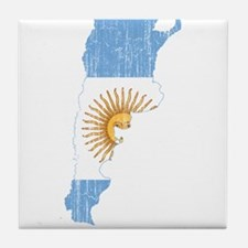 Argentina Flag And Map Tile Coaster