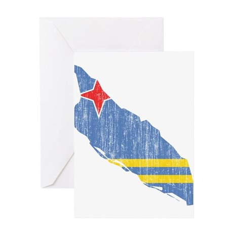 Aruba Flag And Map Greeting Card