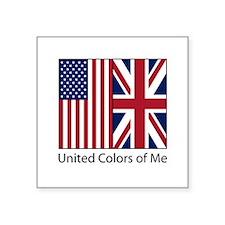 "US UK Me Square Sticker 3"" x 3"""
