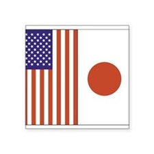 """US and Japan Square Sticker 3"""" x 3"""""""