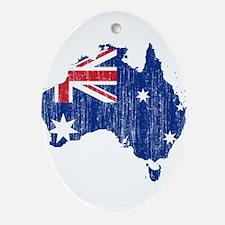 Australia Flag And Map Ornament (Oval)
